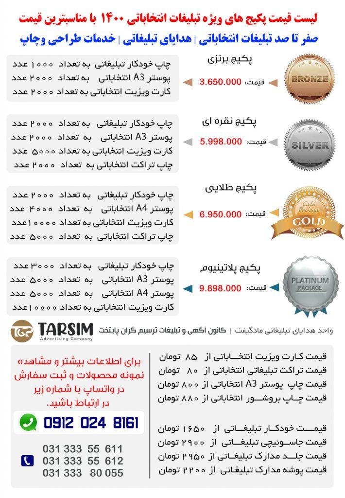 لیست قیمت چاپ انتخاباتی 1400