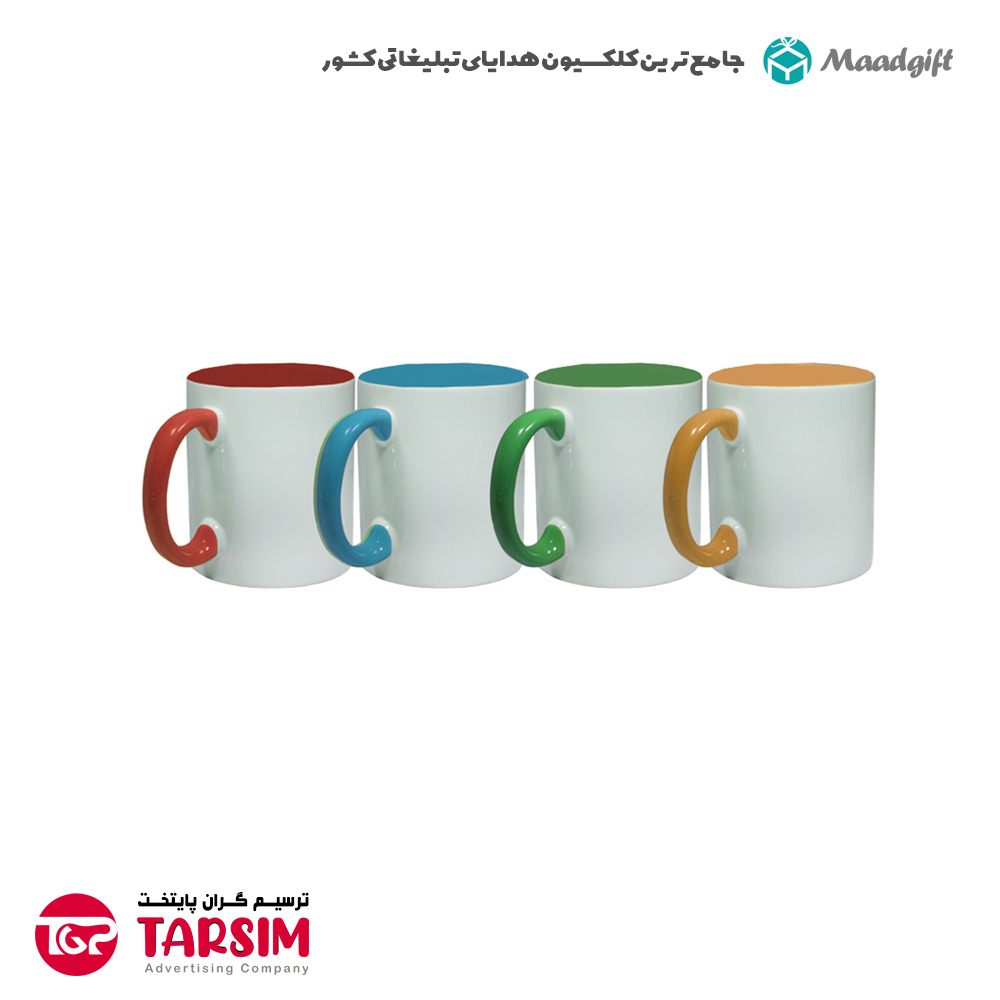 لیوان تبلیغاتی سرامیکی دسته رنگی 2173